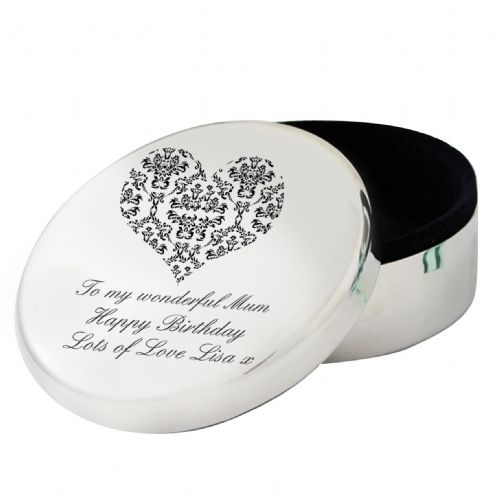 Personalised Damask Heart Round Trinket